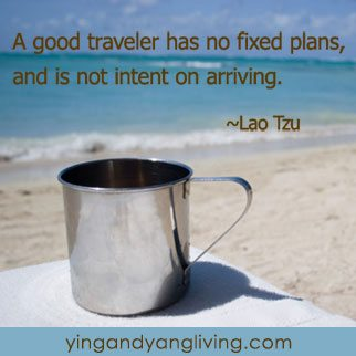 Zen Message Tin Cup on Beach – Lao Tzu