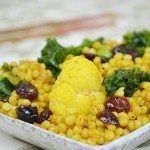 Curry Pearl CousCous with Kale, Cauliflower and Dried Cranberries