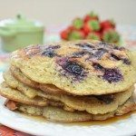 Blueberry Gluten-Free Soy Milk Pancake with Pecans and Banana