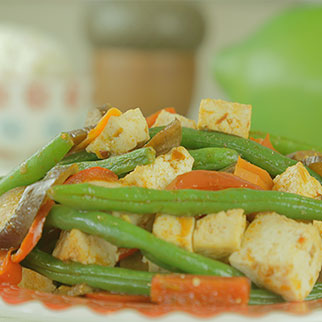 Spicy String Beans with Eggplant and Tofu