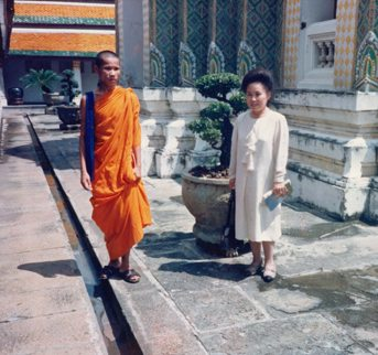 My Mom and Buddhist Monk in Thailand